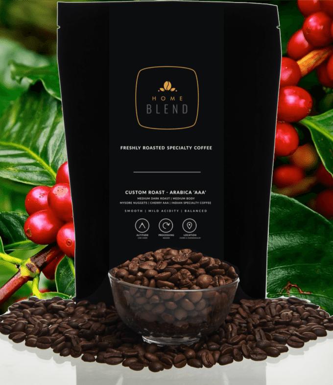 Custom Roast 250g Home Blend Coffee Roasters Whole Bean Coffee